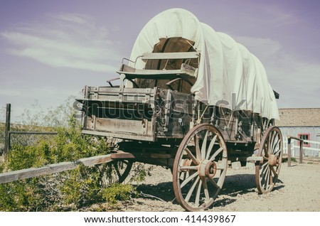 Wild west wagon - South West American cowboy times concept - stock photo