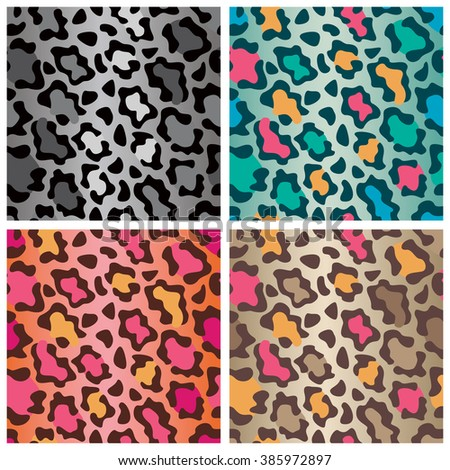 Wildcat spots pattern in four colorways repeats seamlessly. - stock photo