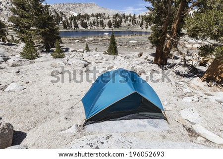 Wilderness back country tent site in the Sierra Nevada Mountains in California.   - stock photo
