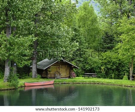 Wilderness cabin - stock photo