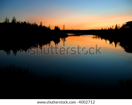 Wilderness Lake at Dusk - stock photo
