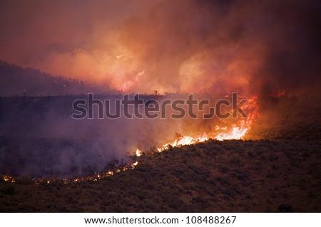 Wildfire burning Sagebrush on the Colville Indian Reservation, Washington - stock photo