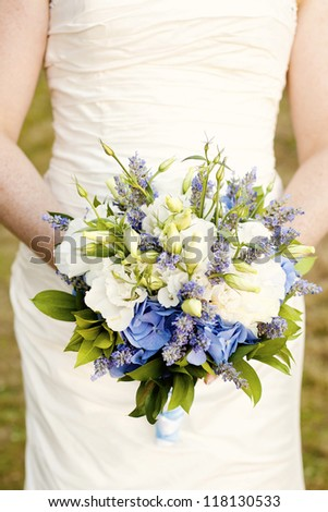 Wildflower bridal bouquet - stock photo
