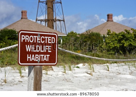 Wildlife Habitat Warning Sign on Sanibel Island, Florida - stock photo