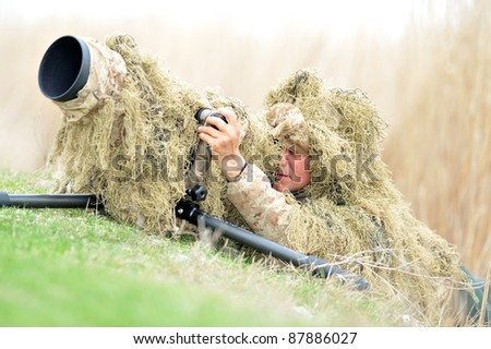 wildlife photographer outdoor - stock photo