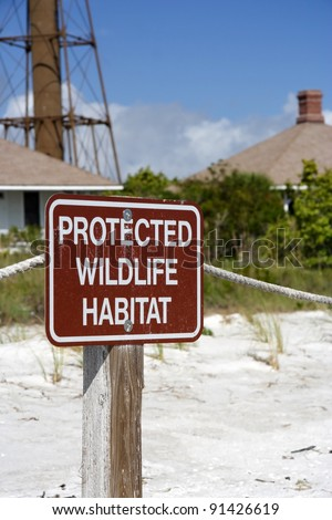 Wildlife Protection Sign on Sanibel Island, Florida - stock photo