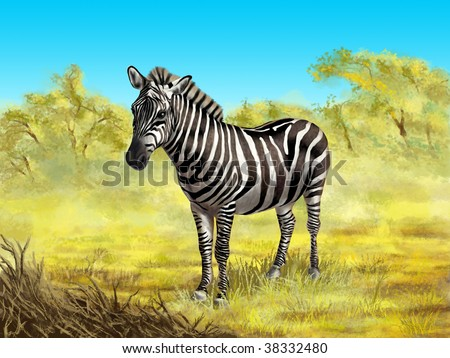 Wildlife: zebra in its native african environment. Digital illustration. - stock photo