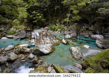 Wildwater river, Routeburn Track, Mount Aspiring Nationalpark, Wanaka District, South Island, New Zealand - stock photo