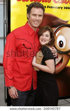 "Will Ferrell and Drew Barrymore attend the World Premiere of ""Curious George"" held at the ArcLight Cinemas in Hollywood, California on January 28, 2006. - stock photo"