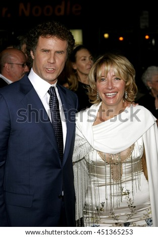 Will Ferrell and Emma Thompson  at the Los Angeles premiere of 'Stranger Than Fiction' held at the Mann Village Theatre in Westwood, USA on October 30, 2006.  - stock photo