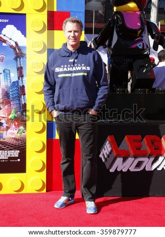 """Will Ferrell at the Los Angeles premiere of """"The LEGO Movie"""" held at the Regency Village Theatre in Westwood, USA on February 1, 2014 - stock photo"""