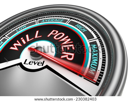 will power conceptual meter indicate maximum, isolated on white background - stock photo