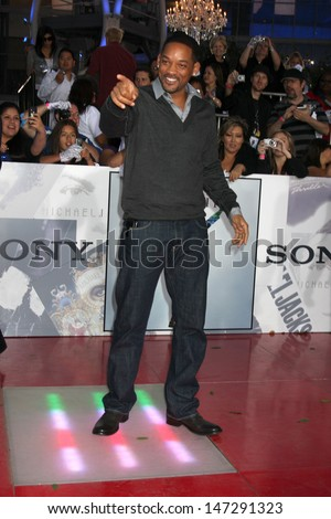 "Will Smith arriving at the ""This is It"" Premiere Nokia Theater at LA Live Los Angeles,   CA October 27, 2009 - stock photo"