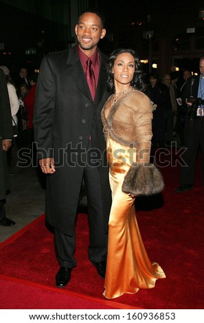 Will Smith, Jada Pinkett Smith at HITCH premiere hosted by Sony and Columbia Pictures, Ellis Island Immigration Museum, New York, NY, February 03, 2005 - stock photo