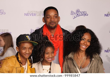 "Will Smith, Jada Pinkett Smith, Jaden Smith and Willow Smith at the ""Justin Bieber: Never Say Never"" Los Angeles Premiere, Nokia Theater, Los Angeles, CA. 02-08-11 - stock photo"