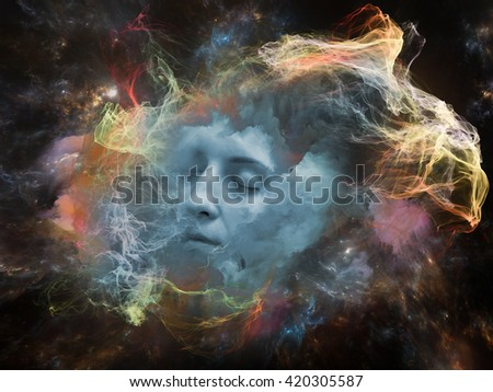 Will Universe Remember Me series. Backdrop of human face and fractal smoke nebula on the subject of human mind, imagination, memory and dreams - stock photo
