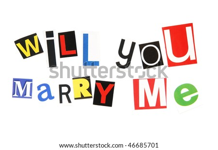 will you marry me - ransom note style - stock photo