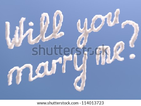 Will you marry me text in sky, isolated on blue - stock photo