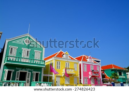 WILLEMSTAD (CURACAO) - APRIL 2015 - Punda district with its colorful dutch houses in Willemstad, Curacao on April 28th, 2015 - stock photo