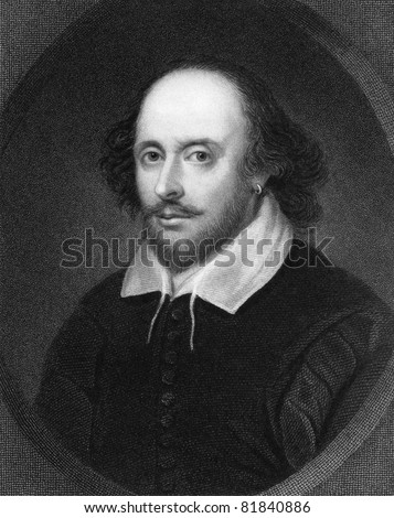 William Shakespeare (1564-1616). Engraved by E.Scriven and published in The Gallery of Portraits with Memoirs encyclopedia, United Kingdom, 1835. - stock photo