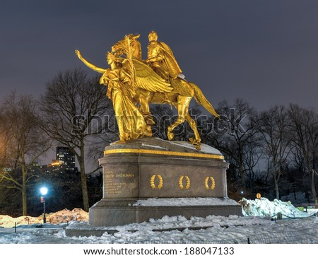 William Sherman memorial located in New York City on the corner of Central Park South by Augustus Saint-Gaudens. William Sherman was a United States general who served in the American Civil War. - stock photo