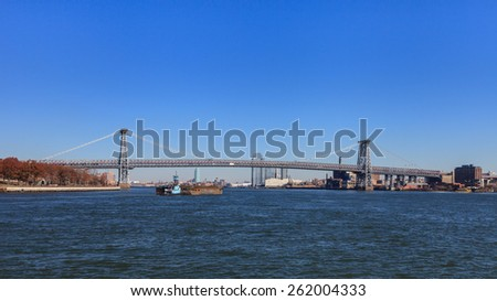 Williamsburg Bridge.  A view of Williamsburg Bridge in New York City.  The bridge spans the East River connecting the boroughs of Manhattan and Brooklyn. - stock photo