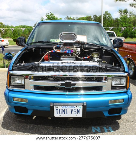 WILLIAMSBURG, VA - May 9, 2015: A Blown 1996 Chevrolet S-10 Blazer at the 6th Annual Project Lifesaver Car Show in Williamsburg Virginia on a summer day. - stock photo