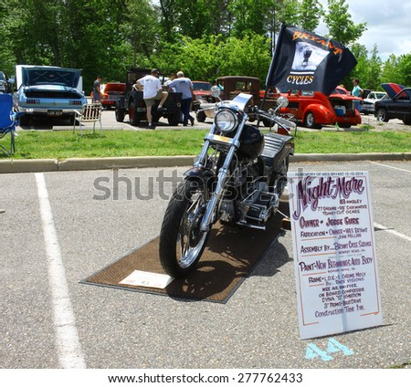 WILLIAMSBURG, VA - May 9, 2015: A 1983 Harley Davidson Night Mare at the 6th Annual Project Lifesaver Car Show in Williamsburg Virginia on a summer day. - stock photo