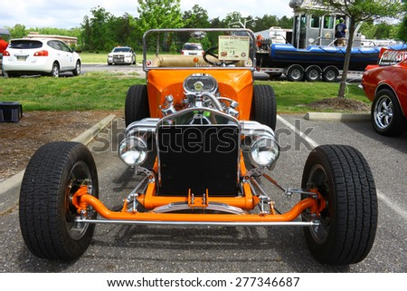 WILLIAMSBURG, VA - May 9, 2015: An old 1923 Ford T-Bucket coupe hot rod at the 6th Annual Project Lifesaver Car Show in Williamsburg Virginia on a summer day. - stock photo
