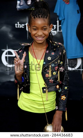 Willow Smith at the Los Angeles premiere of 'The Twilight Saga: Eclipse' held at the Nokia Theatre L.A. Live in Los Angeles on June 24, 2010.  - stock photo