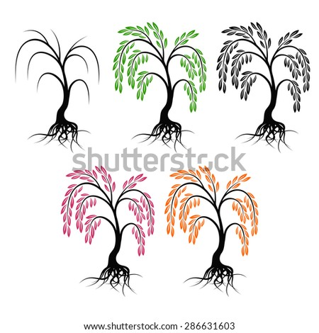 Willow with roots. Set of trees on a white background. - stock photo