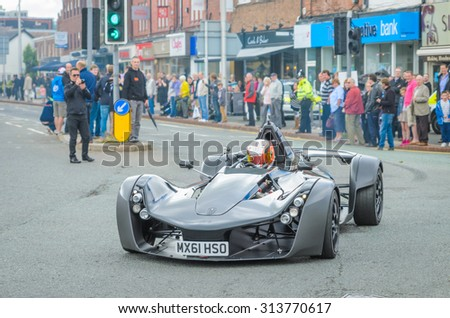 Wilmslow UK - July 9, 2013 : A BAC Mono during the annual public gathering of local sports and super cars in affluent Wilmslow, Cheshire - stock photo