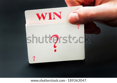 Win card from question deck of cards - stock photo