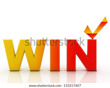 Win text on a white background - stock photo