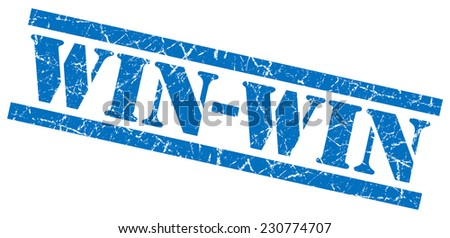 win-win blue square grunge textured isolated stamp - stock photo