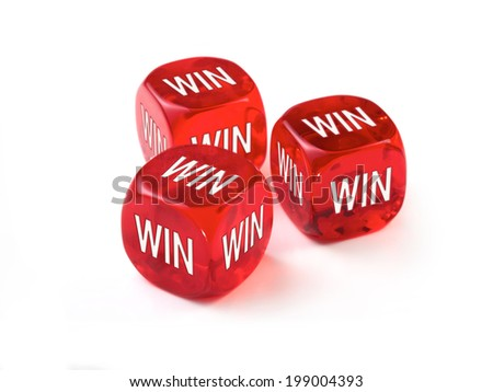 Win Win concept with three red dice on a white background - stock photo