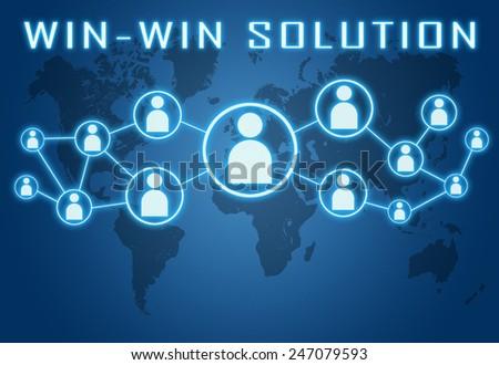 Win-Win Solution concept on blue background with world map and social icons. - stock photo