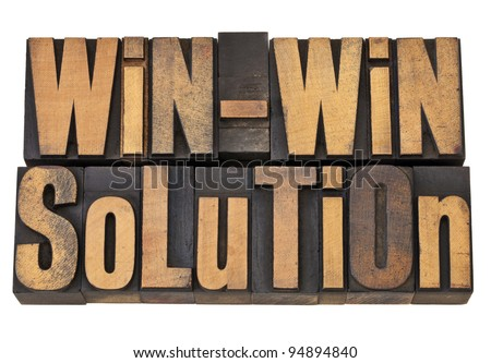 win-win solution - negotiation or conflict resolution concept - isolated words in vintage wood type - stock photo
