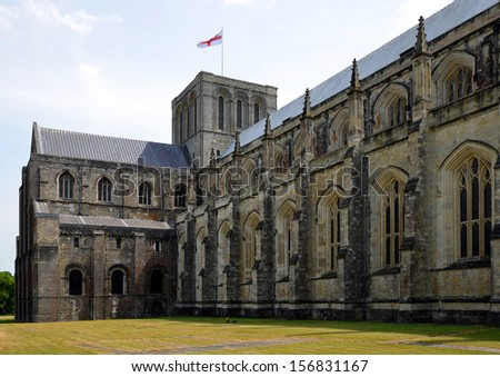 Winchester Cathedral at Winchester in Hampshire,England,UK - stock photo