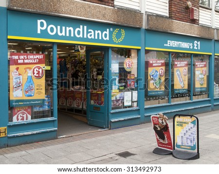 Winchester, Upper Brook Street, Hampshire, England - September 4, 2015: Poundland shop, company founded in 1990 by Dave Todd and Stephen Smith - stock photo