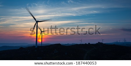 Wind Energy at the Sunset, Fafe, Portugal - stock photo