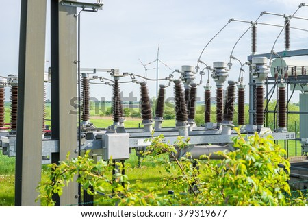 Wind energy for climate change - stock photo