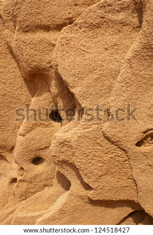 Wind eroded Calcareous sandstone - stock photo