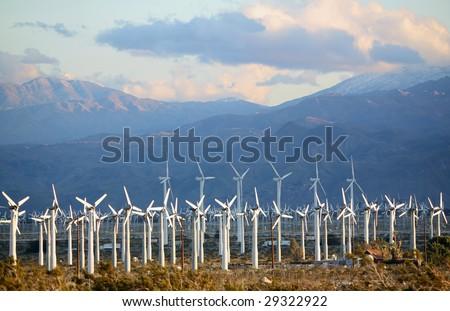 Wind farm in the Southern California Desert - stock photo