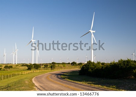 Wind Farm on Texas Highway - stock photo