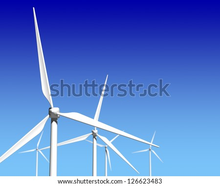 Wind Generator Turbines over Blue Sky - Green Renewable Energy - stock photo