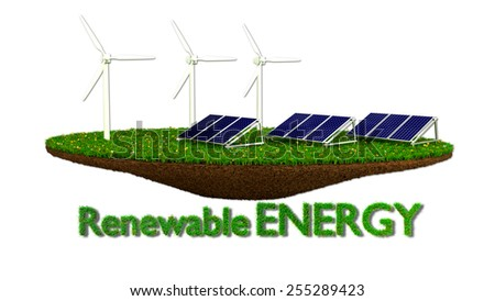 Wind Generators and solar panels - renewable energy concept - stock photo