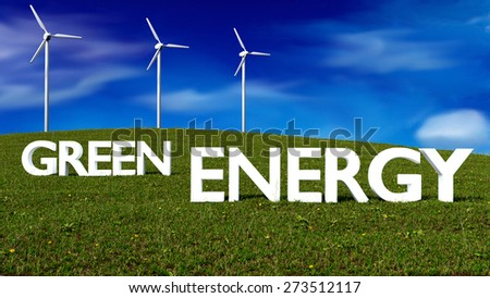 wind generators on grass meadow - green energy concept - 3D render - stock photo