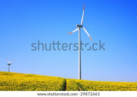 Wind generators with rapeseed fields - stock photo