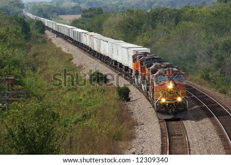 Wind Haven road -October 2: BNSF 4398 [C44-9W] eastbound trailer train on the ex Santa Fe line to Chicago October 2, 2007 Wilbern,Illinosis - stock photo
